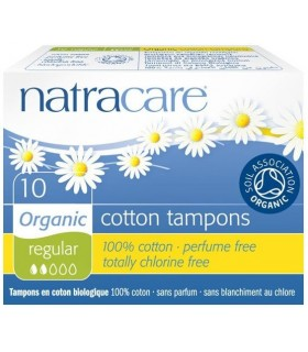 Tampons en Coton Bio Regular Sans Applicateur x 10 - Natracare